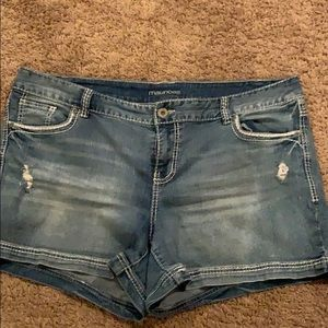 Maurice's Blue Jean Distressed Shorts